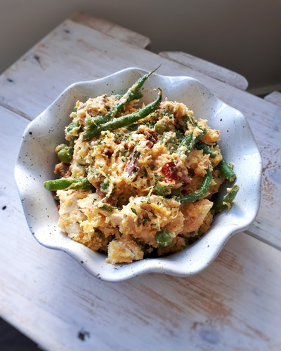 Creamy Chicken Spaghetti Squash with Bacon and Green Beans