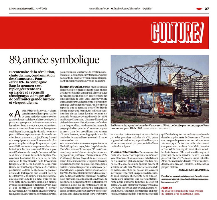 article Libé - feria 89 - 21 avril 2021.
