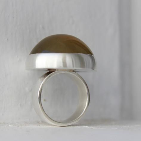 Citrincabochonring in Silber