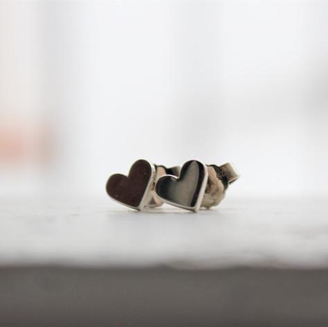 Herzohrstecker in Silber