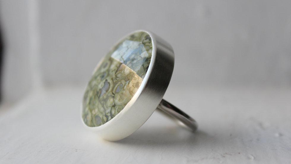 Jaspisring in Silber
