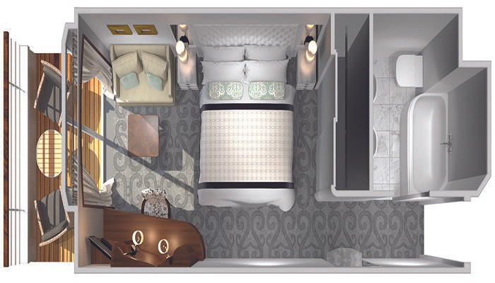 Deluxe Stateroom with Verandah (P1, P2, A1, A2, B1, B2, B3) Layout