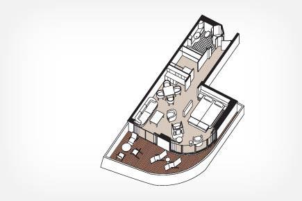 Seven Seas Suite (aft) Floor Plan