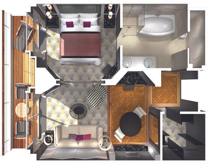 Penthouse Suite with Verandah (PS) Layout