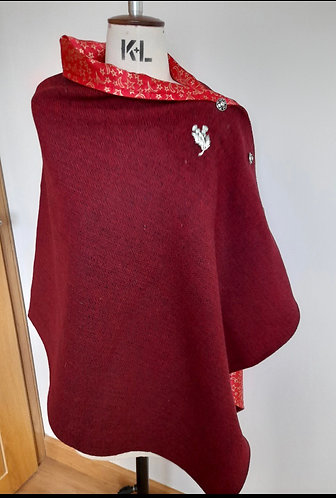 Red Herringbone Harris Tweed Cape