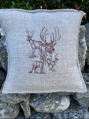 Harris Tweed Cushion with Stags
