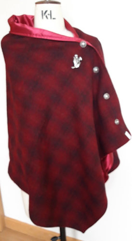 Deep Red Ombre Harris Tweed Cape