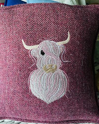 Harris Tweed Cushion with Highland Coo