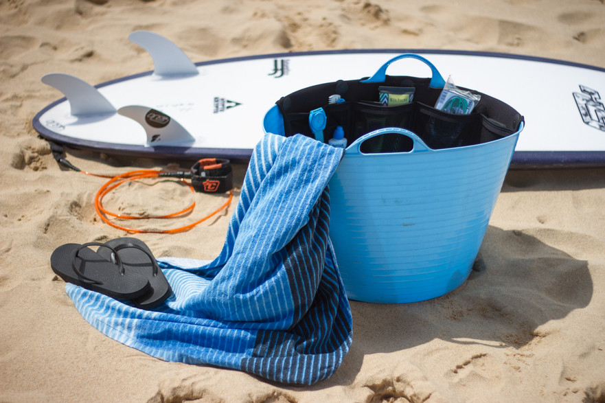 The Utility Bucket System used to store all surf products at the beaach beside the waves in the ocean