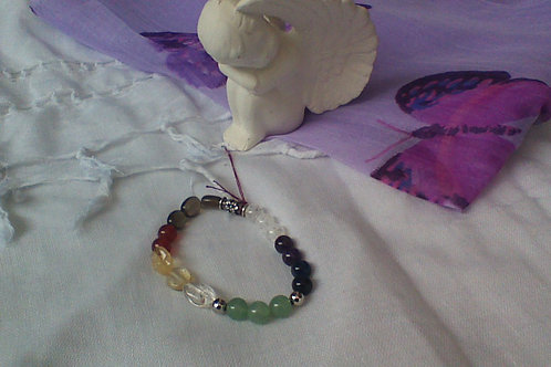 Chakra bracelet with Buhdda  and round spacer