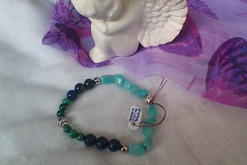 SOLD!!  Amazonite, Azurite & Malachite bracelet
