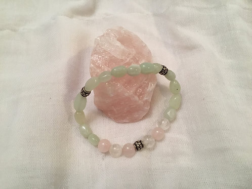 New Jade , Quartz & Rose Quartz bracelet