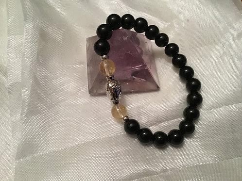 Onyx/Citrine bracelet w/Buddha