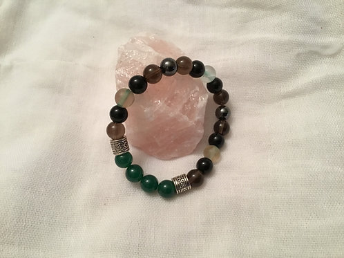 Aventurine, Fluorite, Hematite, Onyx  and Smoky Quartz bracelet