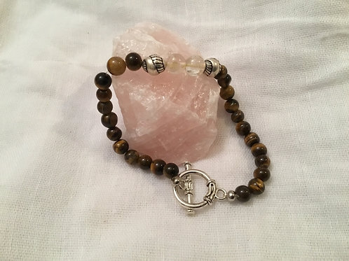 Tigers Eye & Citrine bracelet with toggle clasp