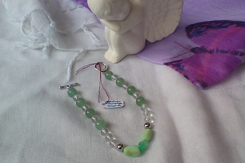 Aventurine, Chrysoprase & Clear Quartz  bracelet with toggle clasp