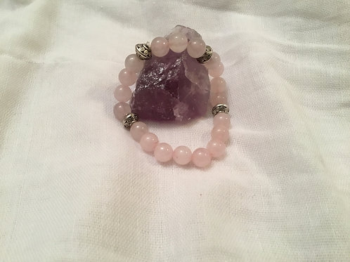 Rose Quartz bracelet w 4 spacers