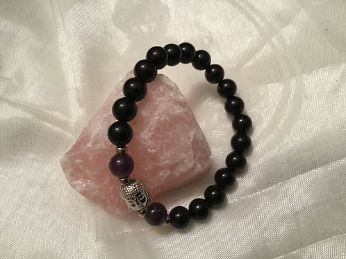 Onyx/Amethyst bracelet w/Buddha