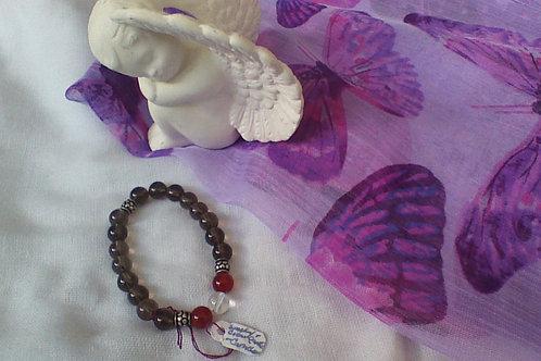 Smoky quartz, Carnelian & Quartz bracelet