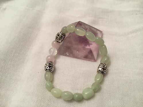 New Jade,  Rose & Clear Quartz bracelet