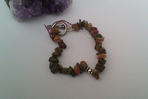 Unakite chip bracelet with toggle clasp