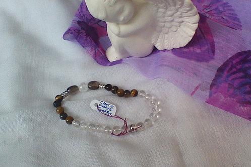 SOLD!! Tigers Eye,  Quartz & Smoky Quartz bracelet