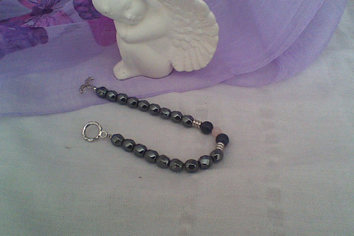 Hematite, Rose Quartz & Sodalite bracelet  with toggle clasp