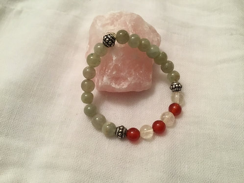Green Jade, Carnelian & Citrine bracelet