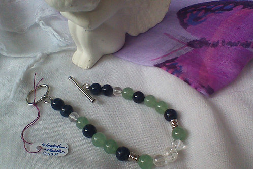 SOLD!! Aventurine, Sodalite,  Clear & Crackled Quartz bracelet with toggle clasp