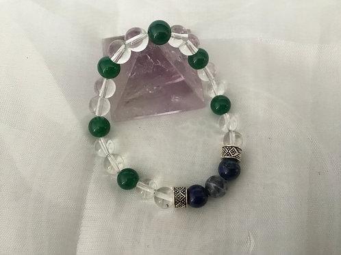 Sodalite, Aventurine and Quartz bracelet