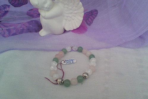 SOLD!! Rose Quartz, Aventurine & Crackled Quartz bracelet