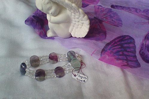 Fluorite & Quartz bracelet with star spacers
