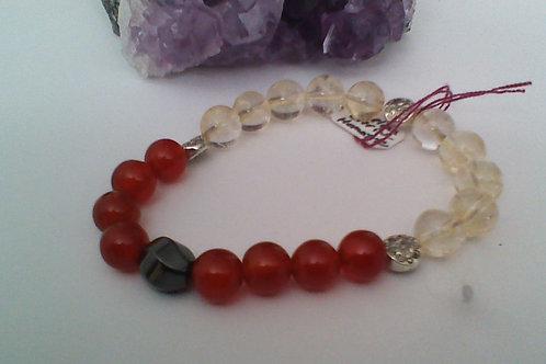 Carnelian,  Citrine & Hematite  bracelet