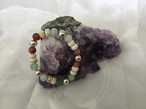 Carnelian, Amazonite, Howlite & aventurine bracelet