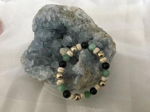 Amazonitie, Howlite & Onyx bracelet