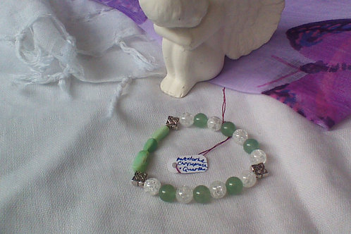 Chrysoprase, crackled Quartz & Aventurine bracelet