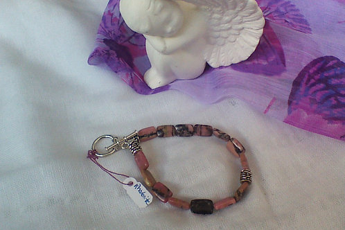 Rhodonite bracelet with toggle clasp
