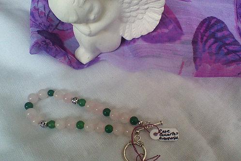 Rose Quartz & Aventurine bracelet with toggle clasp