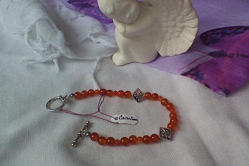 Carnelian bracelet with toggle clasp