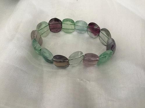Fluorite Flat bead bracelet