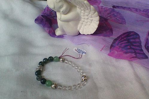 Quartz, Moss Agate & Aventurine  bracelet