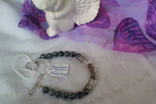 Snowflake Obsidian, Quartz & Smoky Quartz bracelet with toggle clasp