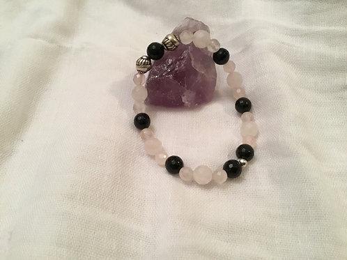 Rose Quartz &  Onyx bracelet
