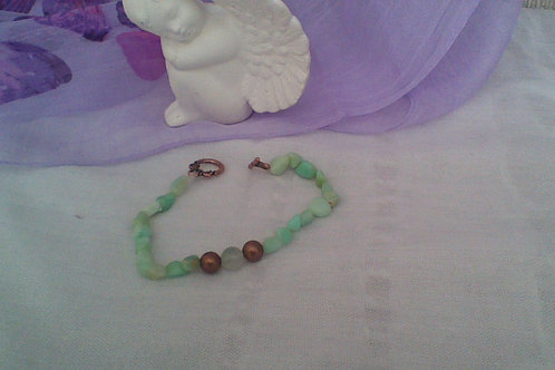 Chrysoprase bracelet with copper toggle clasp