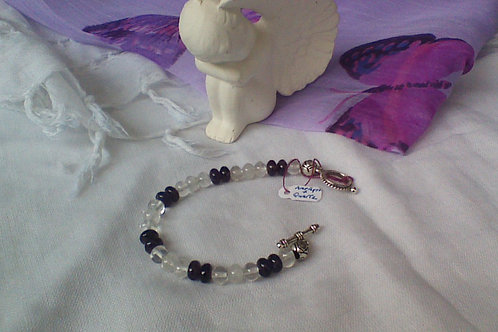 Amethyst & Quartz bracelet with toggle clasp