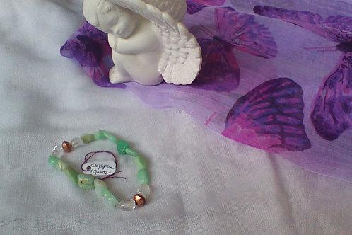 Chrysoprase & quartz bracelet with copper spacers