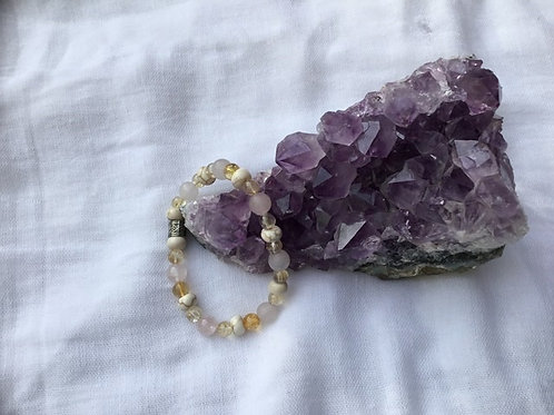 Rose Quartz, Citrine & Howlite bracelet