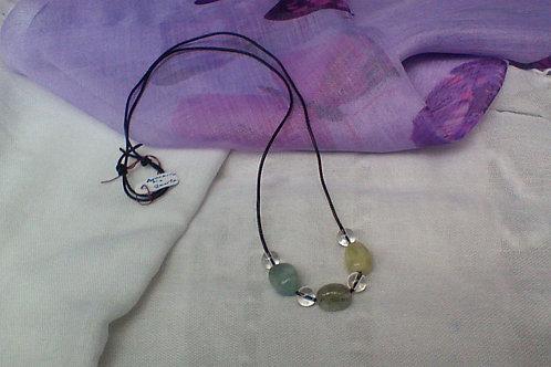 Aquamarine & quartz necklace