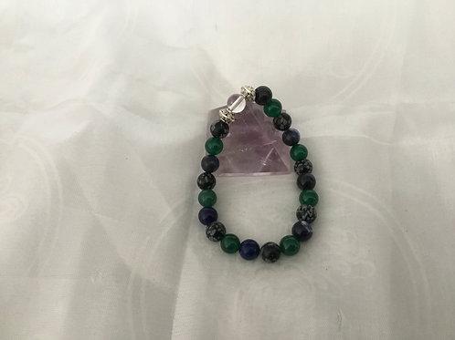 Snowflake Obsidian, Aventurine, Sodalite and clear quartz bracelet