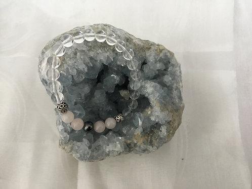 Rose Quartz, Hematite & Clear Quartz bracelet